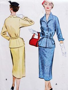 1950s STYLISH Suit or 2 Pc Dress Pattern McCALLS 9467 Slim Pencil Skirt Fitted…