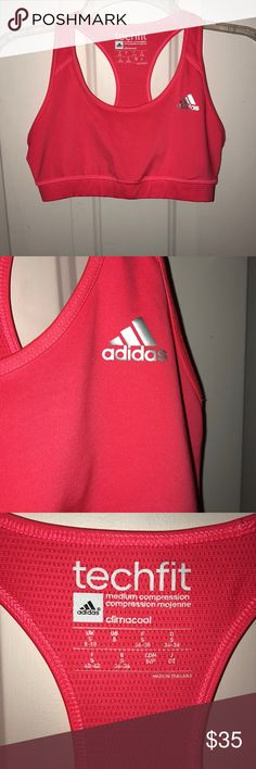 Adidas Neon Pink Sports Bra Very comfy Sports Bra by adidas! One little mark on the inside of the Bra but wearing it, no one would know! Very good material and compression perfect for any workout! Super cute for Spring! Great condition! adidas Intimates & Sleepwear Bras