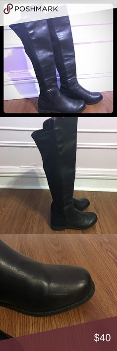 ✨CALL IT SPRING BLACK FAUX LEATHER BOOTS✨ Faux leather boots only worn a couple of times! In good condition (Imperfections shown in photos). Back of boot is a soft material. Call It Spring Shoes Over the Knee Boots