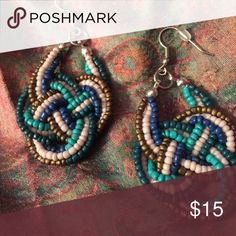 """Multi-color knotted earrings French wire fashion earrings with braided strands of copper, pink, blue, &green glass beads.  Approx hang 2.5"""" Jewelry Earrings"""