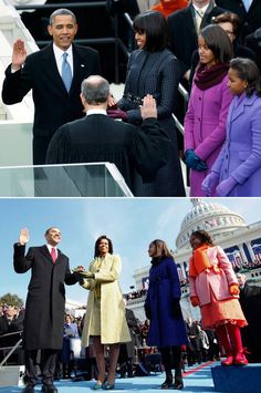 Then and Now - Obama family at the 2008 & 2012 Inaugurations.