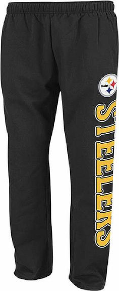Reebok Pittsburgh Steelers Black Post Game Open Bottom Football Sweatpants   30.00 c18e21b5b