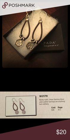 Silpada earrings W2179 Silver & leather rustic earrings, table display Silpada Jewelry Earrings