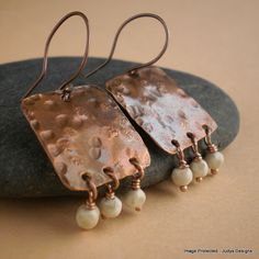 Square Hammered Earrings, copper and creme howlite
