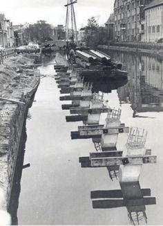 Zuidergrachtswal, verzakking kademuur, 1968. Bron: Historisch Centrum Leeuwarden - Beeldbank Leeuwarden