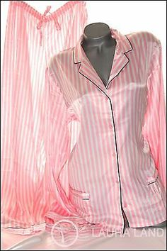 M~Victoria Secret PAJAMA SET AFTERHOURS SATIN PINK STRIPED SLEEPSHIRT PANTS~NWT
