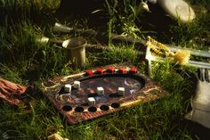 A simple version of dice poker board from The Witcher PC game. I made the board and dice. Photo by Gabriela Goffová. Pc Game, The Witcher, Dice, Poker, Boards, Deviantart, Table Decorations, Simple, Outdoor Decor