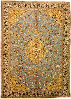 Blue 9' 0 x 12' 5 Qom Rug   Persian Rugs   eSaleRugs