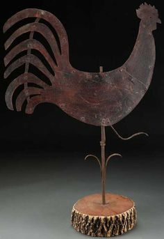 "Lot: LARGE PRIMITIVE ""ROOSTER"" PAINTED TIN WEATHERVANE, Lot Number: 1297, Starting Bid: $225, Auctioneer: Jackson's Auction, Auction: Native American, Asian, Euro & Amer Works, Date: December 7th, 2017 EST"