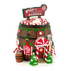 """Department 56: Products - """"Pop's Peppermint Barrel"""" - View Lighted Buildings"""