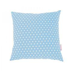 Cuscino azzurro decorato con delle piccole stelline.