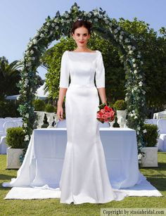 Modest wedding dress with sleeves, modest wedding gown Designer: Stasia Modest Couture- specialize in modest and plus size wedding gowns.