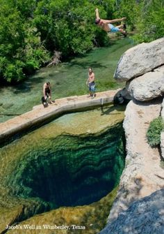 Jacob's Well -- Wimberly, Tx: One of the most significant natural geologic treasures in the Texas Hill Country. It is one of the longest underwater caves in Texas and an artesian spring. Jacob's Well surges up thousands of gallons of water per minute and acts as headwaters to the beautiful Cypress Creek that flows through Wimberley, sustaining Blue Hole and the Blanco River, recharging the Edwards Aquifer, and finally replenishing estuaries in the Gulf of Mexico.""