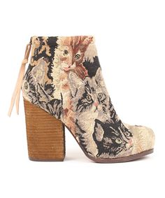 """$147.00 USD     rumble boot in cat tapestry from jeffrey campbell / zip back closure, rounded toe, and chunky stacked wooden heel / fabric upper, genuine leather inner, rubber sole / 8"""" shaft, 4.25"""" heel, .25"""" platform / fits true to size /"""