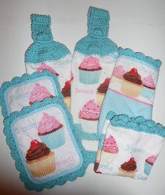 Cupcake Kitchen Set, Retro, Crochet, Hanging Towels, Pot Holders, Oven Mitt, Dish Cloth, Aqua, Pink