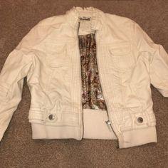 Cream leather jacket Barely worn leather jacket! Jou Jou Jackets & Coats