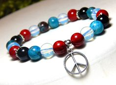 Red, White and Blue Peace Bracelet