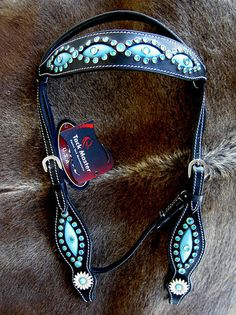Horse Bridle Western Leather Headstall Barrel Black Turquoise Bling Tack BT2 | eBay