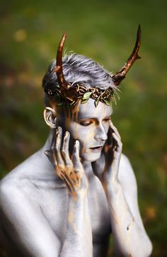 photo by Gail Kilker; antler headpiece by Organic Armor.  (tags: photo, demon, horns or antlers, silver body paint)