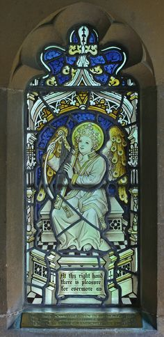 Stained glass window in St. Peter's parish church, Boxworth, Cambridgeshire. Glass presumably by Kempe and Co. The text is from Psalm 16.  (TheRevSteve, via Flickr )