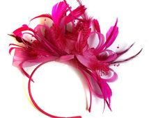 Fuchsia Hot Pink Feather Hair Fascinator Headband Wedding and Royal Ascot Races Ladies Wedding Headband, Wedding Fascinators, Fascinator Headband, Fascinator Hairstyles, Carnaval Diy, Royal Ascot Races, Wedding Pantsuit, Hot Pink Weddings, Alice Band