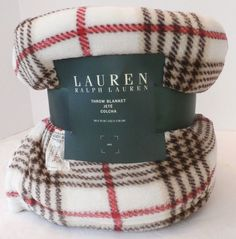 Ralph Lauren Fleece Throw Blanket 60 x 70 Cream Red Brown Plaid