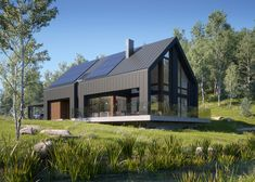 Awesome Black House Exterior Design Ideas You Definitely Like - There's not at all like another lick of paint to make a house truly look incredible. Including a new coat and cleaning up the shades can take a long t. Modern Barn House, Barn House Plans, Modern House Design, Passive House Design, Barn House Design, Contemporary Design, Black House Exterior, Casas Containers, Modern Farmhouse Exterior