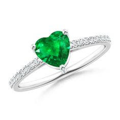 Angara Prong-Set Oval Emerald and Diamond Halo Ring a2pqeUu