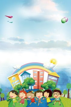 Children's cartoon opening ji zhaosheng posters background material Source by Poster Background Design, Powerpoint Background Design, Kids Background, Cartoon Background, Boarder Designs, Page Borders Design, Creative Poster Design, Creative Posters, School Border