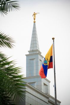 The angel Moroni stands on top of the spire of the Guayaquil Ecuador Temple.
