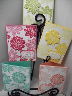 Crazy About You Birthday Cards using Stampin' Up stamp set and coordinating Medallion Flower punch.