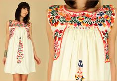ViNtAgE 70's Floral OAXACAN Birds Embroidered Handmade Mini Hippie Mexican Sun Dress s/m. Etsy.