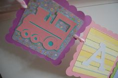 All Aboard Banner Train Theme Train Birthday Party by GiggleBees, $17.00