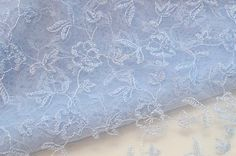 Light Blue Flowered Lace Fabric Sky Blue Tulle by VintageToLiveBy, $14.00