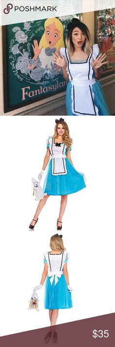 Leg Avenue Alice in Wonderland Costume Worn once to Mickey's Halloween Party at Disneyland. Super cute with black Mary Janes! Includes dress and bow headband. Always open to offers! Leg Avenue Other