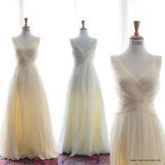 Custom Summer Wedding Dress-Peach Chiffon Gown-Made to order in 26 colors on Etsy, $950.00