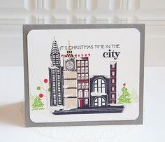 Christmas Time In The City Card by Danielle Flanders for Papertrey Ink (October 2013)