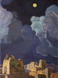 Nicholas Konstantinovich Roerich. Mekheski-Moon People 1915. paper on cardboard, oil