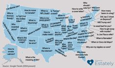 "South Dakota - ""why is my poop green?""  Idaho - ""is Ted Cruz the zodiac killer?""  Kansas - ""how to make meth?""  Be embarrassed by your home with this map of each state's favorite Google question · Great Job, Internet! · The A.V. Club"