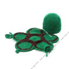 Baby Velvet Crochet Beanie Photography Tortoise Hat Set