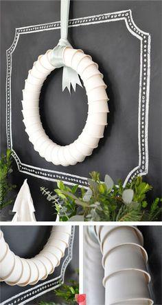 DIY Plastic Cup Wreath - so simple! #office supplies