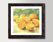Still life Oranges Print - Watercolor Painting, Vibrant color Print, Colorful Fine Art, Gorgeous Home decor,  Realistic Painting
