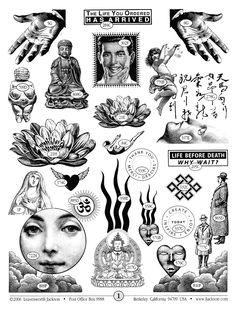 Cool rubber stamps: Leavenworth Jackson Catalog Page 1 Old Tattoos, Body Art Tattoos, Small Tattoos, Sleeve Tattoos, Tattoo Sketches, Tattoo Drawings, Collage Sheet, Collage Art, Tatuagem Old School