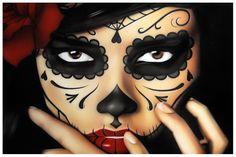 day of the dead art | ... Daniel Esparza Day of the Dead Art Print Woman Sugar Skull Mask Tattoo