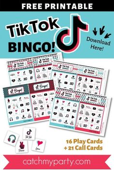 If you are looking for the perfect party activity to keep your guests entertained, download our FREE printable TikTok bingo game with 16 playing cards! See more party ideas and share yours at CatchMyParty.com Party Activities, Fun Activities For Kids, Party Games, Free Baby Shower Printables, Free Printables, Girls Birthday Party Themes, Girl Birthday, Easy Party Decorations, Bingo Board