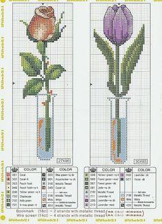 Cross stitch rose and tulip Cross Stitch Books, Cross Stitch Bookmarks, Cross Stitch Cards, Cross Stitch Love, Cross Stitch Flowers, Cross Stitching, Funny Cross Stitch Patterns, Cross Stitch Designs, Embroidery Art