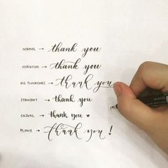 "Thank you styles hand lettering ""My previous brush calligraphy variations video had quite a flattering response"" Calligraphy Handwriting, Calligraphy Letters, Penmanship, Typography Letters, Thank You Caligraphy, I Love You Calligraphy, Modern Calligraphy Alphabet, Hand Typography, Calligraphy Types"