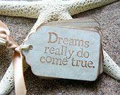 Dreams Come True Gift Tags - Vintage Wedding Favors, Bridal Shower Favors - Fairytale - Antique Parchment -Set of 25