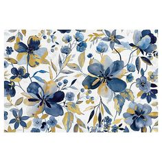 For an exquisite look, dress your place with the rich colors of this Golden Indigo Garden Canvas Wall Art from Masterpiece Art Gallery. This botanical motif offers refreshing, universal style to elevate the contemporary motif.