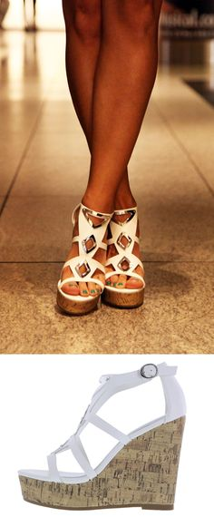 White Wedges with Silver Accents | Magneto High Wedge |Payless ShoeSource